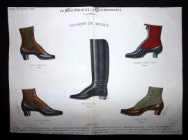 Le Moniteur de la Cordonnerie 1887 Rare Hand Colored Shoe Design Print 69